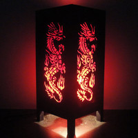 Asian Oriental Red Japanse Dragon Bedside Floor or Table Lamp Shades Decor