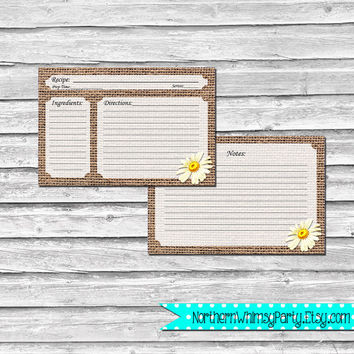 4x6 Recipe Cards – Retro Daisies on Rustic Burlap – Printable Baby Shower, Bridal Shower, Hostess, or Housewarming Gift – INSTANT DOWNLOAD