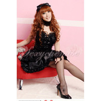 Fanshionable Cute Lady Princess Lolita Dress Black [TQL120322482] - £24.59 :