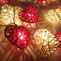 20 Red White Pink Heart Rattan Lover Fairy Lights String 3m Valentine Home Decor