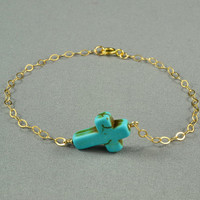 SALE: Turquoise Sideways Cross Bracelet, 14K Gold Filled Chain, Simple, Delicate, Gift under 10