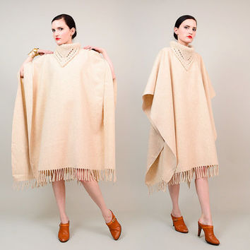 Vintage 70s Cream Wool Poncho Knit Cowl Neck Bohemian Hippie Draped Fringe Cape One Size S M L