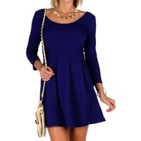 Royal Skater Dress With Pockets