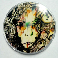 "Abstract illustration portrait watercolor art signed plastic art button pin accessory of original art piece ""The dark side of you"""