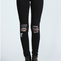 Loren Distressed Ripped Knee Skinny Jeans