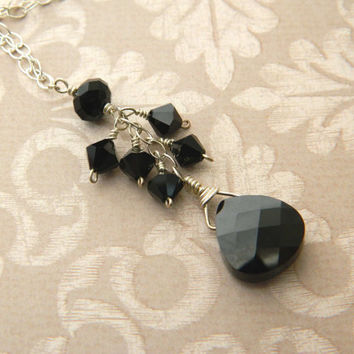 Swarovski Black Necklace - Elegant, Crystal, Tear, Drop, Dangle, Bright, Unique, Pendant, Mom, Collar, Jewelry Necklaces, Lariat, Cocktail