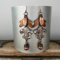 Patina Fleur Earrings oxidized copper and steel by janedean