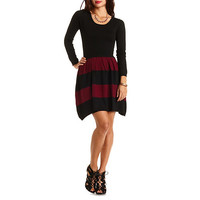 Color Block Striped Sweater Dress by Charlotte Russe - Black Combo