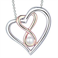 4.0mm Cultured Freshwater Pearl Double Heart Infinity Pendant in Sterling Silver and 10K Rose Gold
