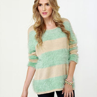 Cute Beige Sweater - Mint Sweater - Striped Sweater - $47.00