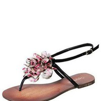 Black FLORAL LEATHER THONG @ KiwiLook fashion