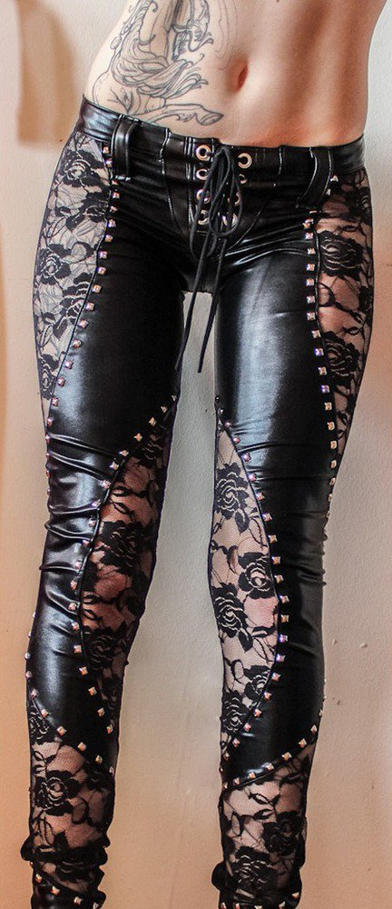 TOXIC VISION Black Widow studded lace pants — Toxic Vision