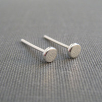 Sterling Silver Post Earrings - Flat Dot - Simple Modern Minimal Earrings