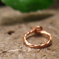 Cartilage Hoop Earrings Copper Twisted 6mm SINGLE Extra Tiny Hoops Collection