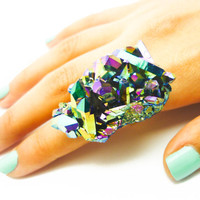 ON SALE - Titanium Quartz Rainbow Crystal Druzy Ring Aura Cluster