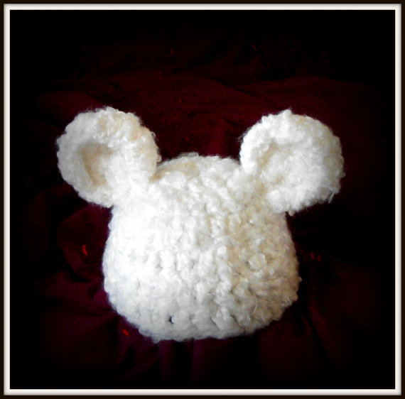 baby hats - white baby bear hat - newborn photography prop -   baby boy or girl hat - ready to ship