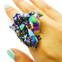 ON SALE - Druzy Rainbow Quartz Ring Titanium Crystal Aura Stone