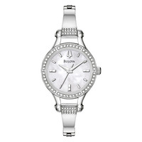 Ladies' Bulova Crystal Bangle Watch with Mother-of-Pearl Dial (Model: 96L128)