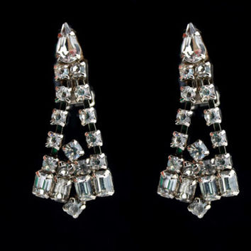 Vintage Chandelier Rhinestone Earrings / Clip on Earrings