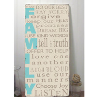 In Our Family we... Family Rules Sign -Typography Word Art Sign -Distressed on Wood- Pick your colors