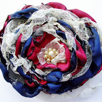 Navy Blue and Red Flower