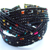 FREE SHIPPING Black Cuff Bracelet, Memory Wire Bracelet, Seed Bead Jewelry,Handmade