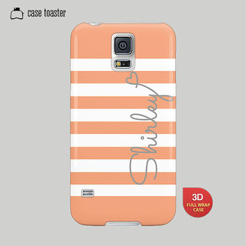 Galaxy S5 Case, Galaxy S4 Case, Galaxy S3 Case, Galaxy Note 2 Case, Galaxy Note 3 Case, Samsung Case -Stripe Case, Name Case, Peach Case