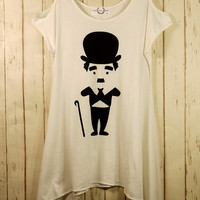 Charlie Chaplin Print Drape T-shirt - Tops - Retro, Indie and Unique Fashion