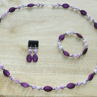 3 Piece Jewerly Set in Purple and White