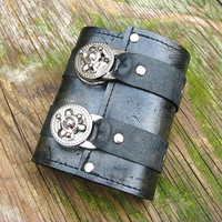 Leather Steampunk Credit Card Wristband Wallet for Women and Men - Distressed Black