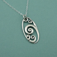 Wave Necklace, sterling silver , zen necklace , surfing , ocean