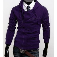 Zipper Purple Cotton Men Casual Hoodie With Cap M/L/XL/XXL@X999NH7S0-5871p