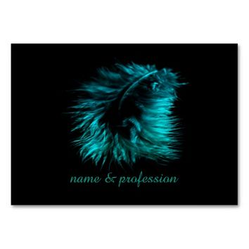 Feather teal business card