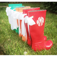 Monogrammed Rain Boots With Bows