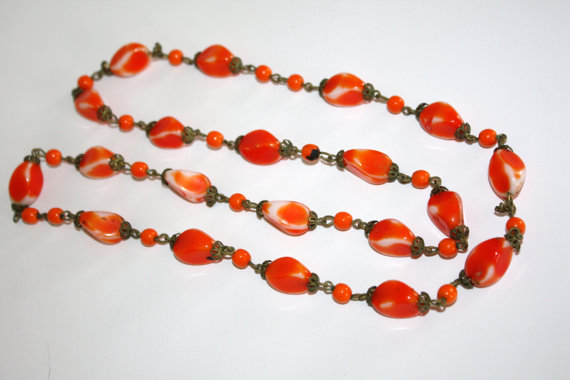Art Deco Necklace Orange art glass beads  1920s Jewelry
