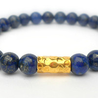 Lapis Lazuli Beaded Stacking Bracelet with Gold Vermeil, Navy Blue Lapis Everyday Bracelet, Casual Unisex Stretch Bracelet, Conflict Free