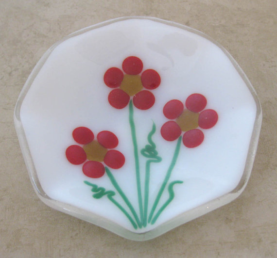 Glass Ring Dish, Glass Jewelry Dish - One of a kind, flowers - Marigolds - 254