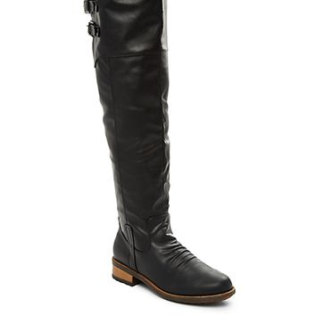 Distressed Double Buckle Over-The-Knee Boot