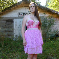 Cupcake Ultra Pink Bustier Dress... size M/L 38B... Eco Friendly Recycled Alternative Bridesmaid