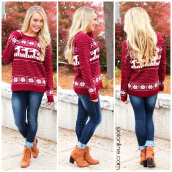 Kaitlyn's Cozy Sweater - Burgundy - BURGUNDY /