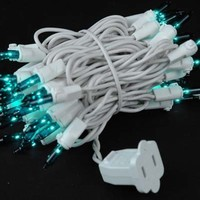 "Novelty Lights, Inc. CG50/2.5-W-TE Commercial Grade Christmas Mini Light Set, Teal, White Wire, 2.5"" Spacing, 50 Light, 11' Long"
