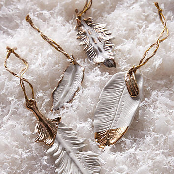 Gold-Flecked Feather Ornament by Anthropologie