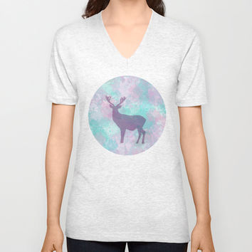 Winter Deer Silhouette V-neck T-shirt by eDrawings38 | Society6