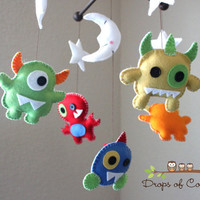 Baby Mobile - Baby Crib Mobile - Nursery Monsters Mobile - Aliens Mobile (You Can Pick Your Colors)