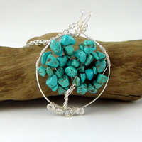Tree of Life Pendant Necklace Faux Turquoise Gemstone Chips