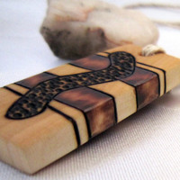 Abstract Wooden Pendant- Mens / Unisex Necklace Hemp Cord