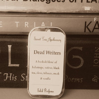 Dead Writers Solid Perfume Tin - Black Tea, Heliotrope, Musk, Clove, Tobacco, Vanilla