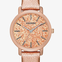 SPARKLE DIAL ROSE GOLD LEATHER STRAP WATCH from EXPRESS