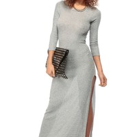 Long Sleeve Grey Knit Maxi Dress @ Cicihot sexy dresses,sexy dress,prom dress,summer dress,spring dress,prom gowns,teens dresses,sexy party wear,ball dresses