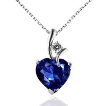 "2.30 Carat Blue & White Sapphire Heart Pendant in Sterling Silver with 18"" Chain"